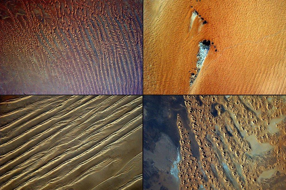 Вверху слева — песчаные дюны в Саудовской Аравии