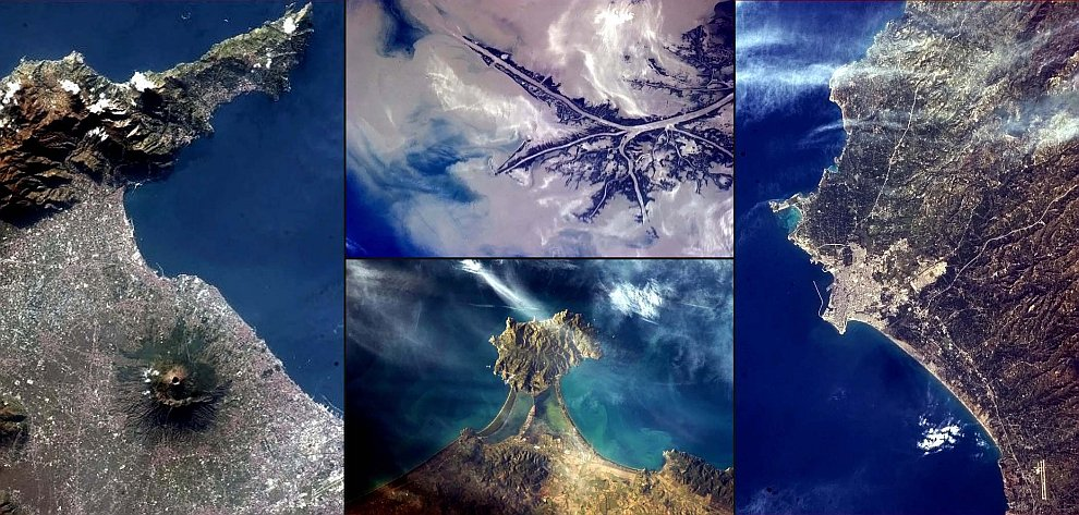 Слева — вулкан Везувий, Италия
