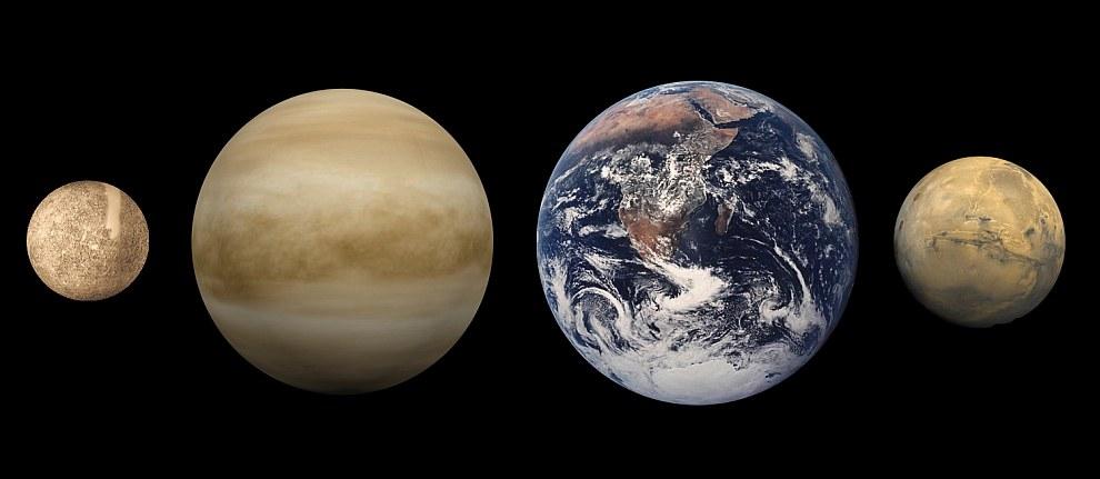 Сравнительные размеры планет (слева направо: Меркурий, Венера, Земля, Марс)