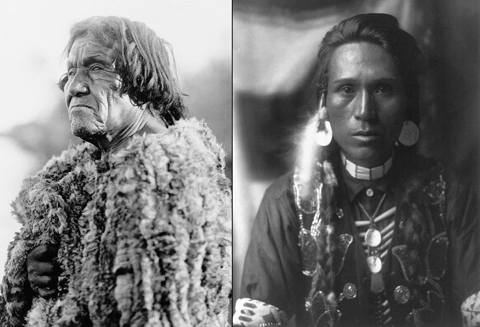 Слева— представитель племени индейцев Мохаве, проживающих в настоящее время в двух резервациях на реке Колорадо. Одет в одежду из кроличьей кожи, 1907 год. Справа — представитель племени Якима, 1910 год