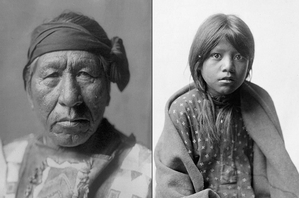 Справа — Восседающий Филин, слева — девушка из древнего поселения индейцев, расположенного неподалеку от города Таос в американском штате Нью-Мексико