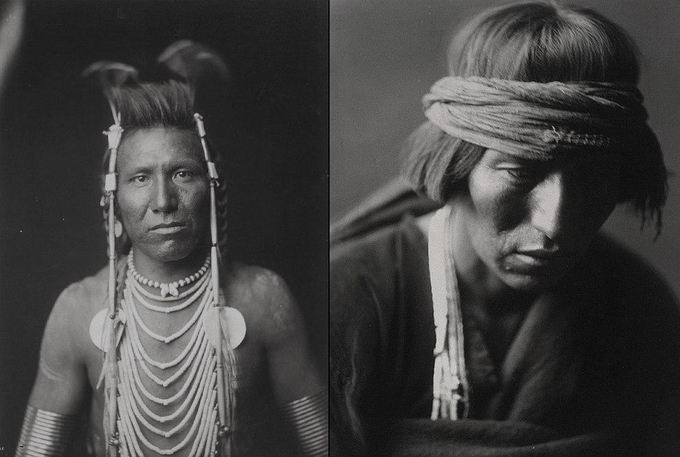Слева — Длинноухий Бен (1905 год), справа — медик их племени Навахо (1904 год)