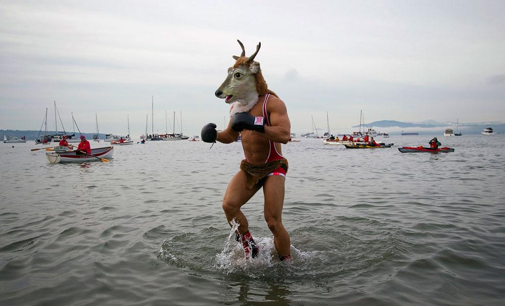 Так, в канун Нового года в Ванкувере, Канада проходит ежегодный заплыв «белых медведей»