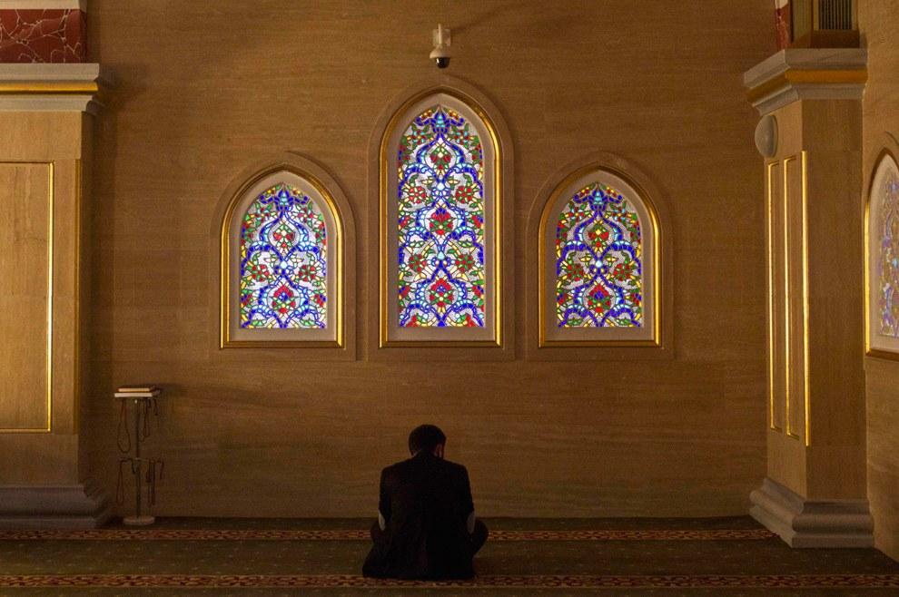 Молитва в мечети «Сердце Чечни» имени Ахмата Кадырова