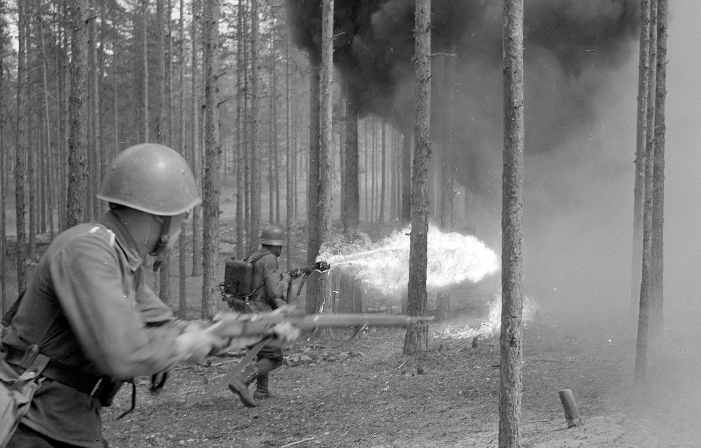 Огнемет в действии. В лесу недалеко от деревни Niinisalo в Финляндии