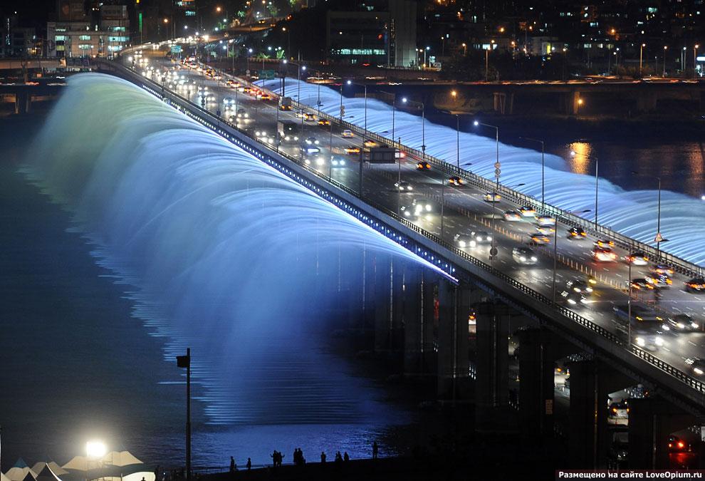 «Лунная радуга» (Сеул) — самый длинный фонтан на мосту