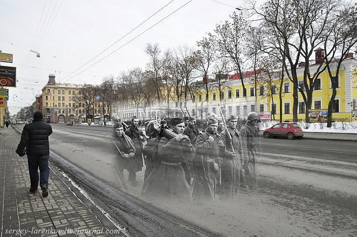 Ленинград 1942 — Санкт-Петербург 2013. Загородный проспект. Пулеметчики на пути к фронту