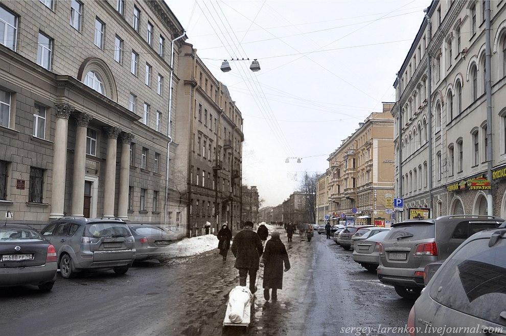 Ленинград 1942 — Санкт-Петербург 2013. ул.Маяковского,10. Проводы очередной жертвы блокады