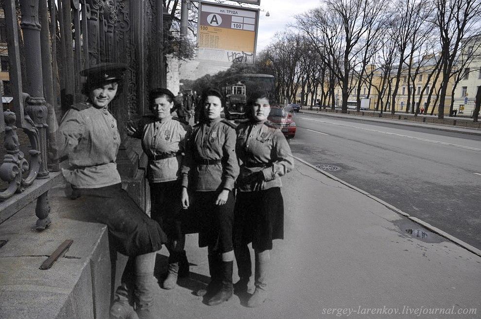 Ленинград 1943 — Санкт-Петербург 2012. Девушки бойцы МПВО на бульваре Профсоюзов (Конногвардейском)