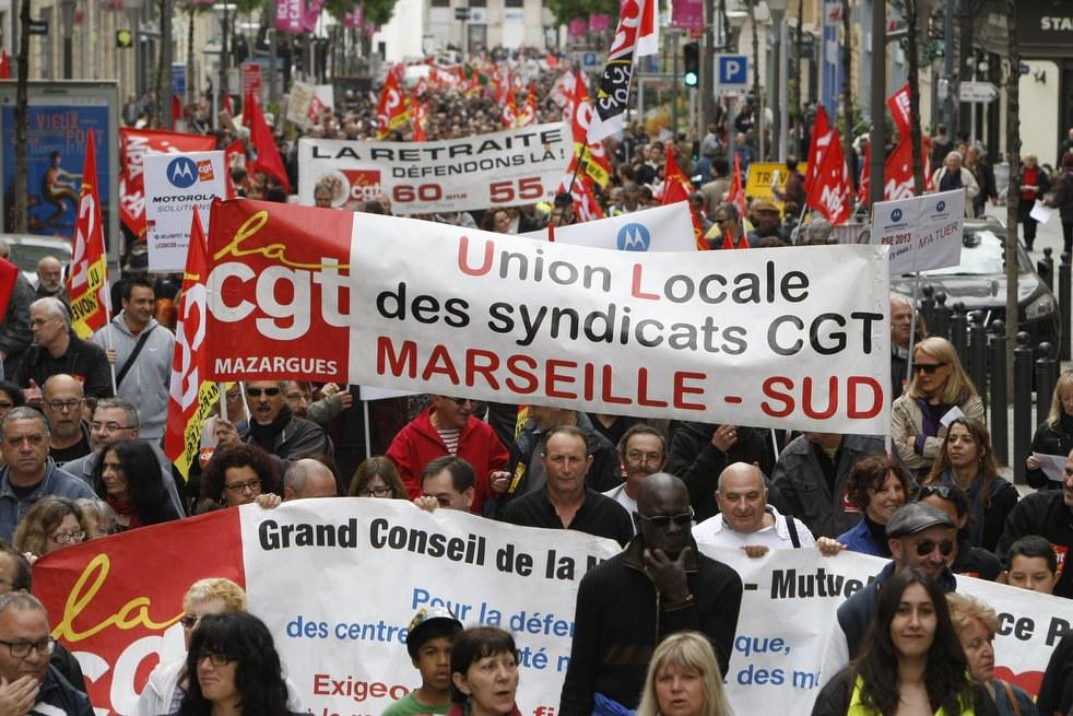 Первомайская демонстрация в Марселе на юге Франции