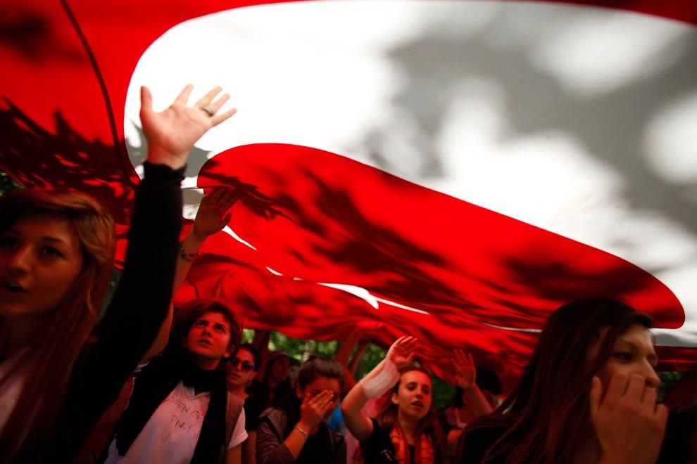 Протестующие с турецким флагом и антиправительственными лозунгами