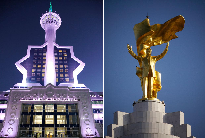 Слева — теле- и радиоцентр Ашхабада, справа — золотой памятник Сапармурату Ниязову