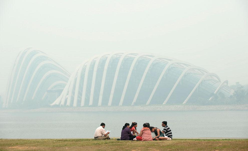 Сквозь смог еле видны «Gardens by the Bay: футуристические прибрежные сады в Сингапуре»