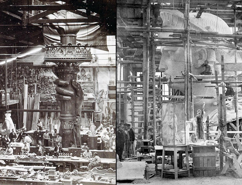 Слева: рука и факел Статуи Свободы создаются в студии в Париже, 1876 год. Справа: идет создание головы Статуи Свободы в парижской студии, 1880 год