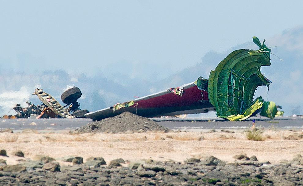 Отвалившиеся хвост и шасси лайнера Боинг-777, Сан-Франциско