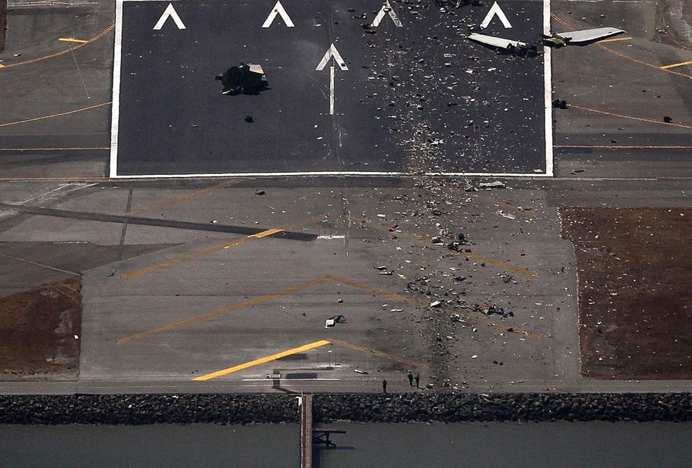 Начало взлетно-посадочной полосы, где разбившийся Боинг-777 заходил на посадку