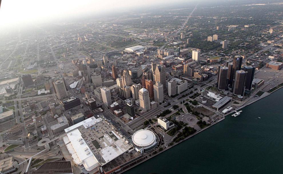 Детройт с высоты, штат Мичиган