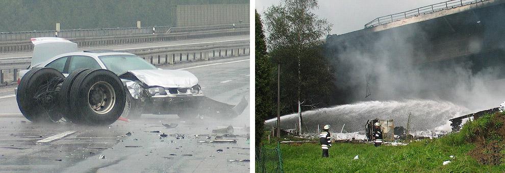 26 de agosto de 2004, perto de Colônia, na Alemanha ocidental a partir da ponte altura Wiehltal de 100 metros caiu petroleiro transportando 32 mil litros de combustível