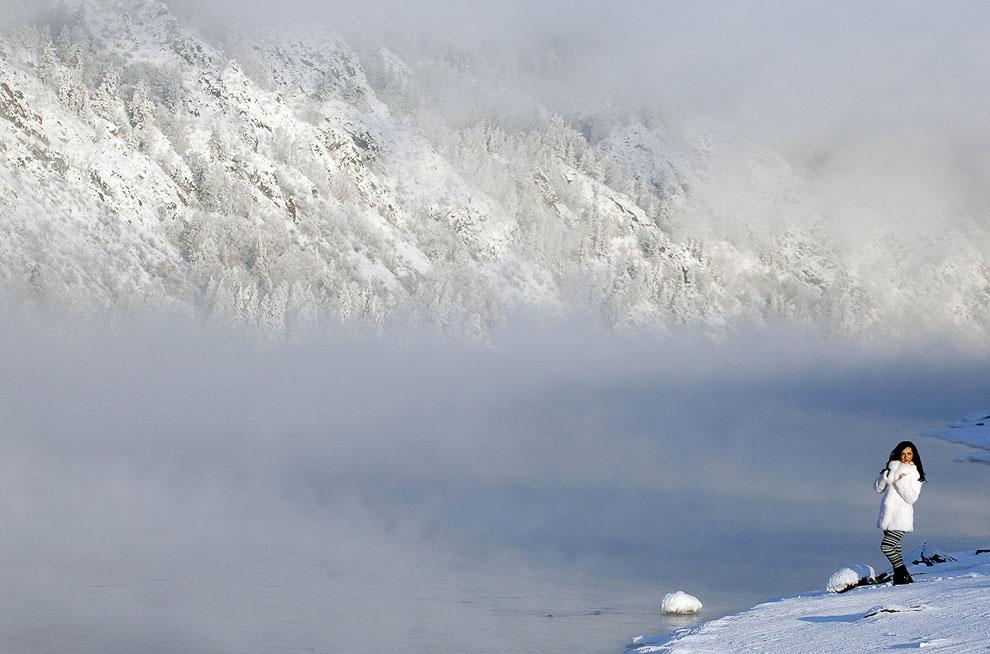 Зимняя фотосессия на берегу Енисея