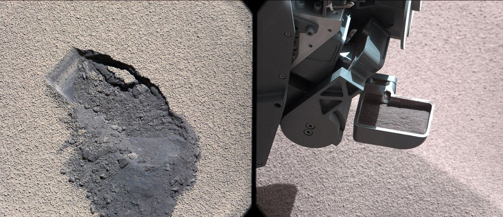 Труженик-марсоход Curiosity продолжает свою деятельность на поверхности Красной планеты. Вот он зачерпнул своим совком грунт для исследования