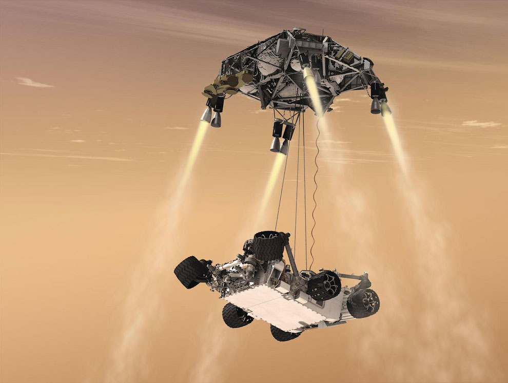 «Небесный кран» (Sky Crane) — это специальный аппарат с ракетными двигателями