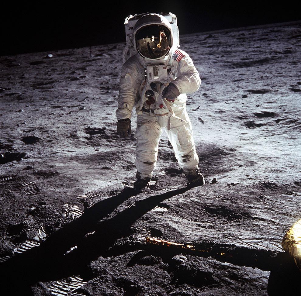 Э. Олдрин на поверхности Луны