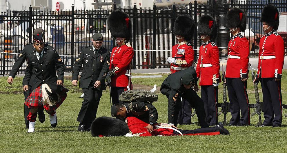 Член почетного караула упал в обморок во время церемонии в Оттаве, отстояв несколько часов на жаре в огромной шапке