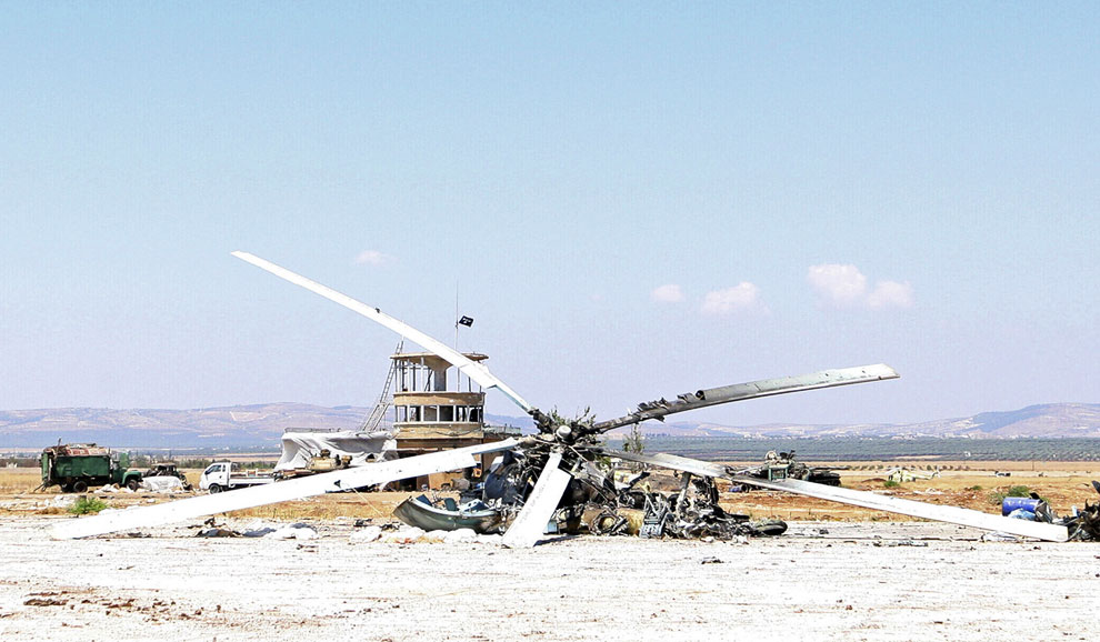 Уничтоженный бывший вертолет российского производства