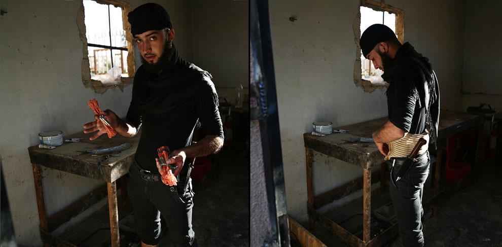 Еще один боевик. Демонстрирует в мастерской пояс смертника, город Ракка
