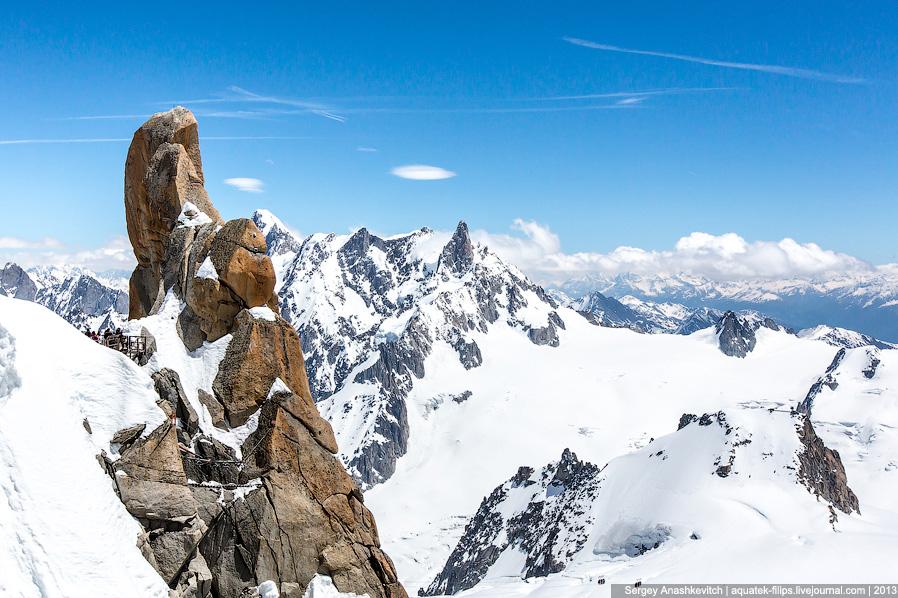 Горная вершина Aiguille Du Midi во Франции