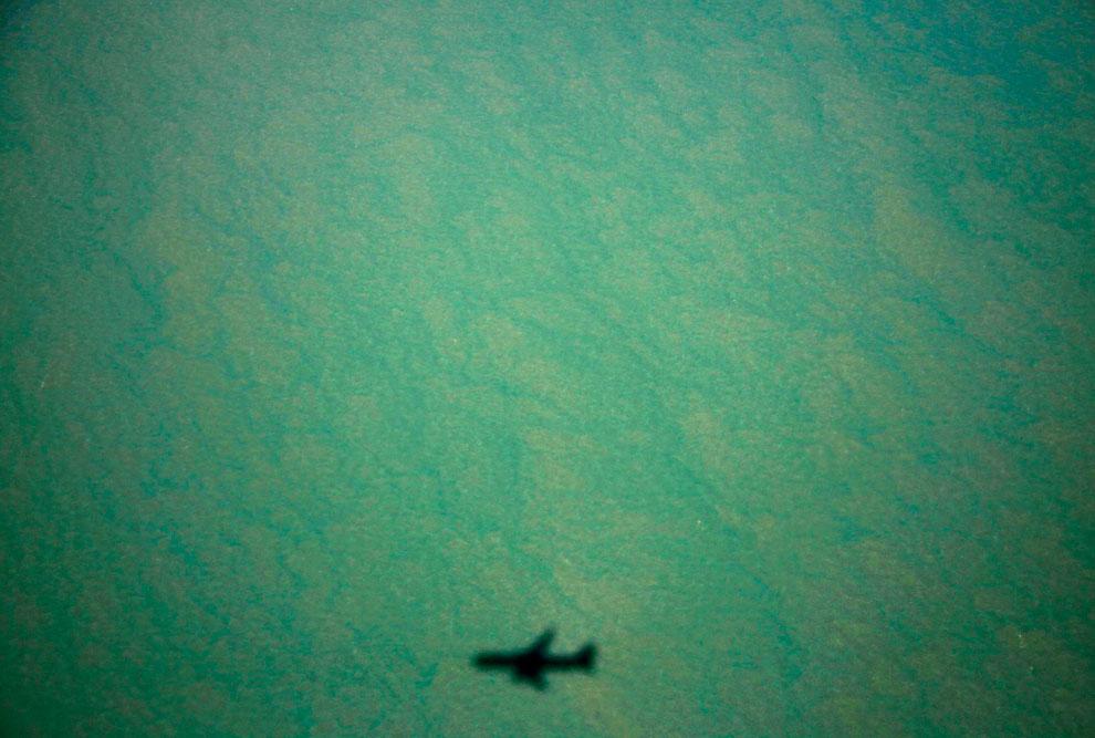 Тень от самолета и бухта на полуострове Арнем-Ленд