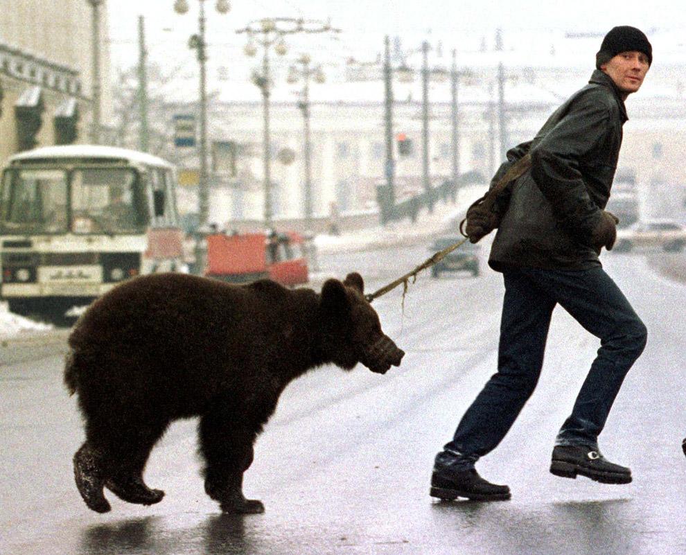 Человек со своим медведем на Невском проспекте в Санкт-Петербурге