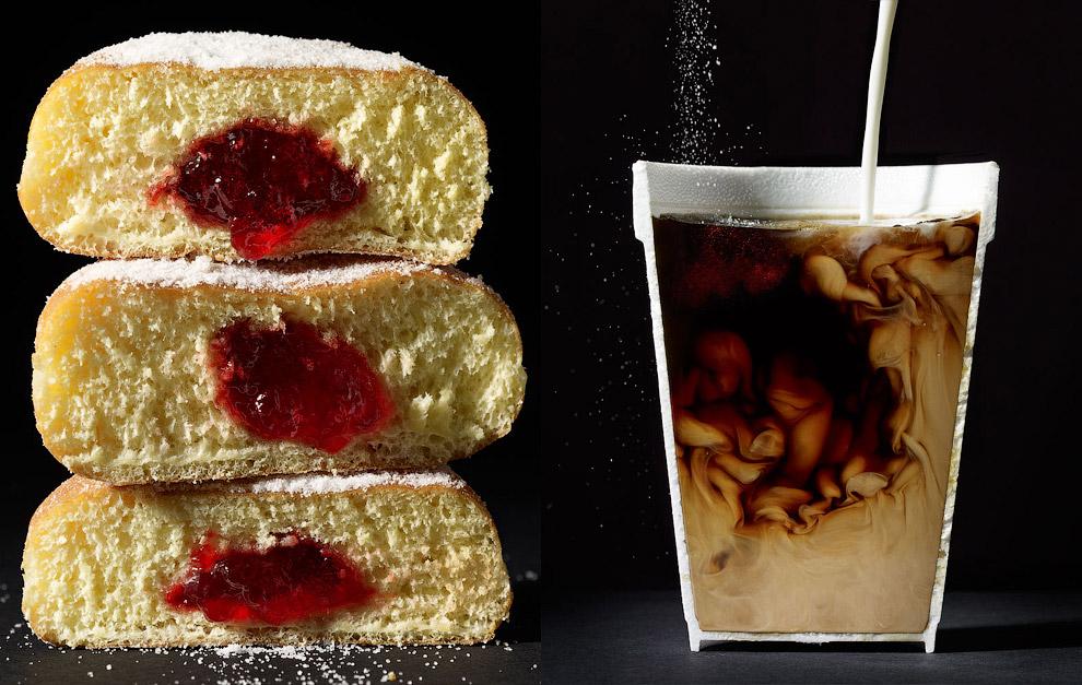 Пончики и кофе с молоком