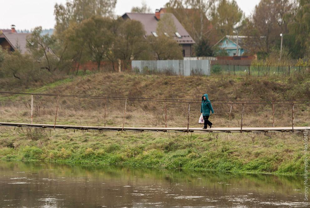 Подвесной мост через реку Москва в Тучково
