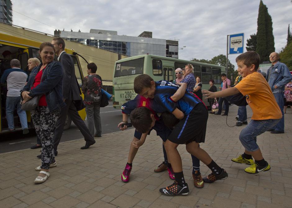 Автобусная остановка в центре Сочи