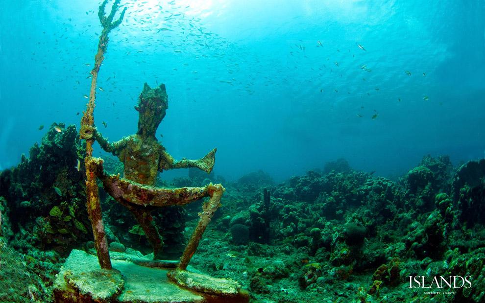 Скульптура Нептуна. Остров Кюраса́о, расположенный на юге Карибского моря вблизи берегов Венесуэлы