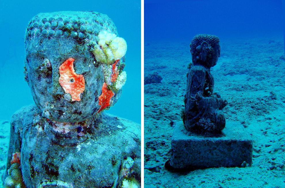 Подводная статуя буддийского монаха на Гавайях