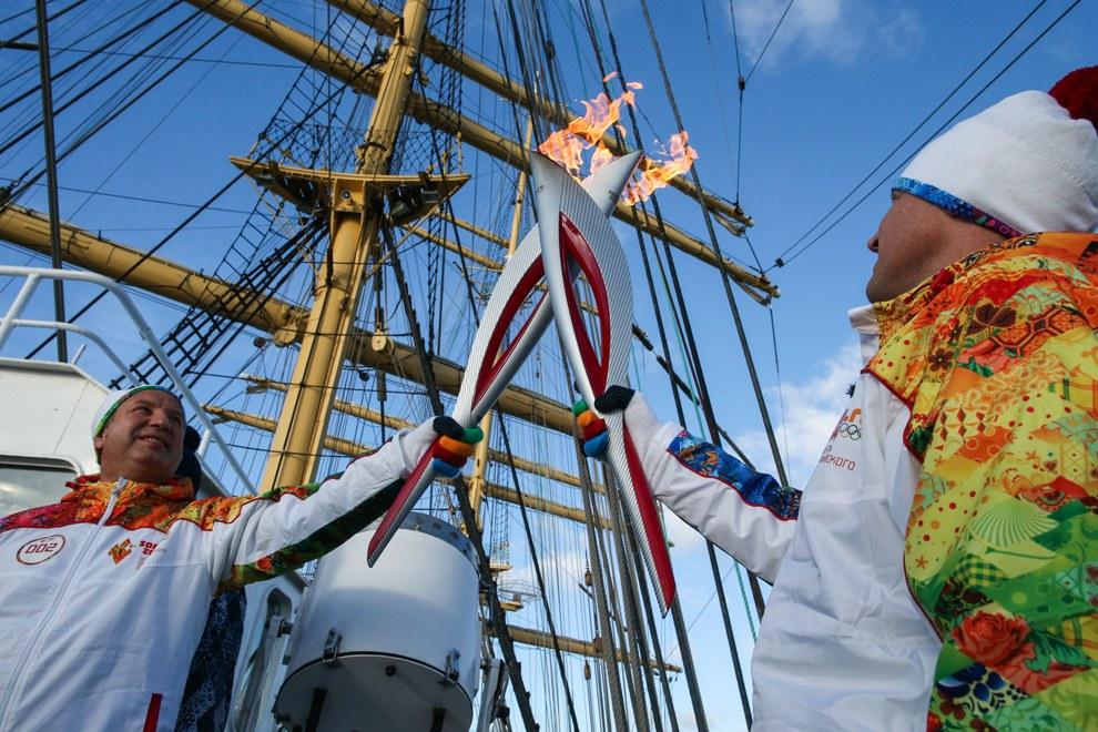 На борту российского парусного судна «Крузенште?рн»
