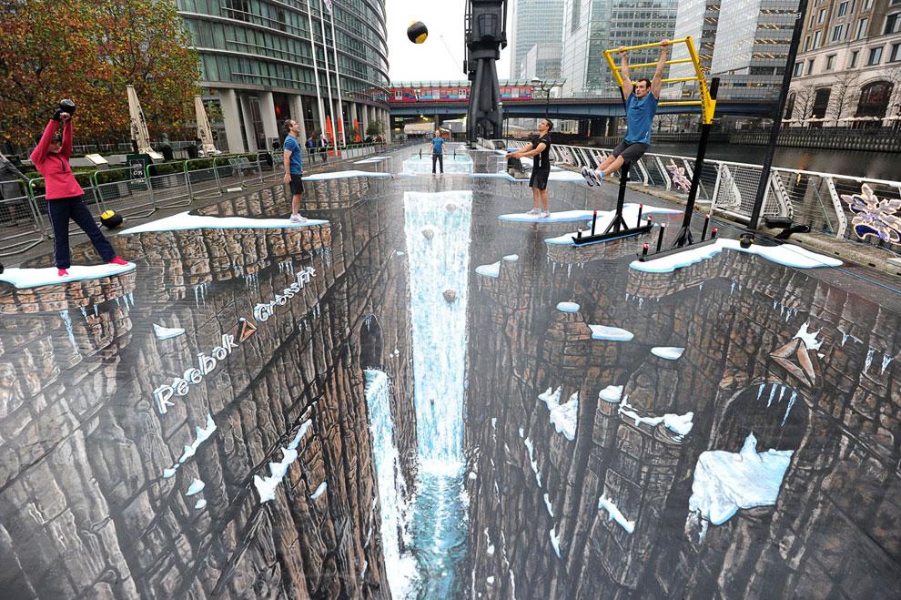 Самая большая в мире 3D-картина на асфальте