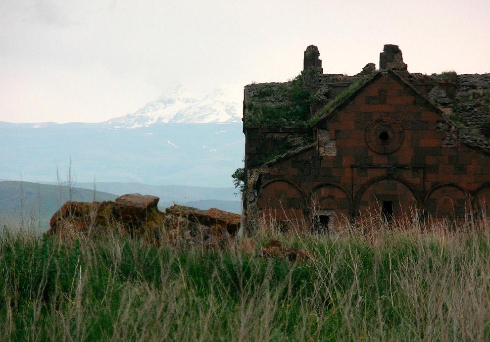 Собор города Ани на фоне горы Малый Арарат