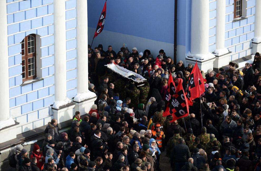 Прощание Михаилом Жизневским, убитым на улице Грушевского 22 января 2014
