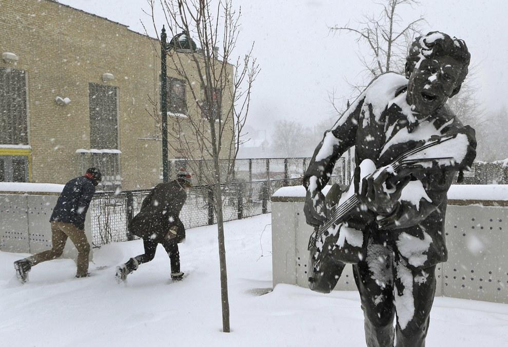 Сильный снегопад в Сент-Луис, штат Миссури