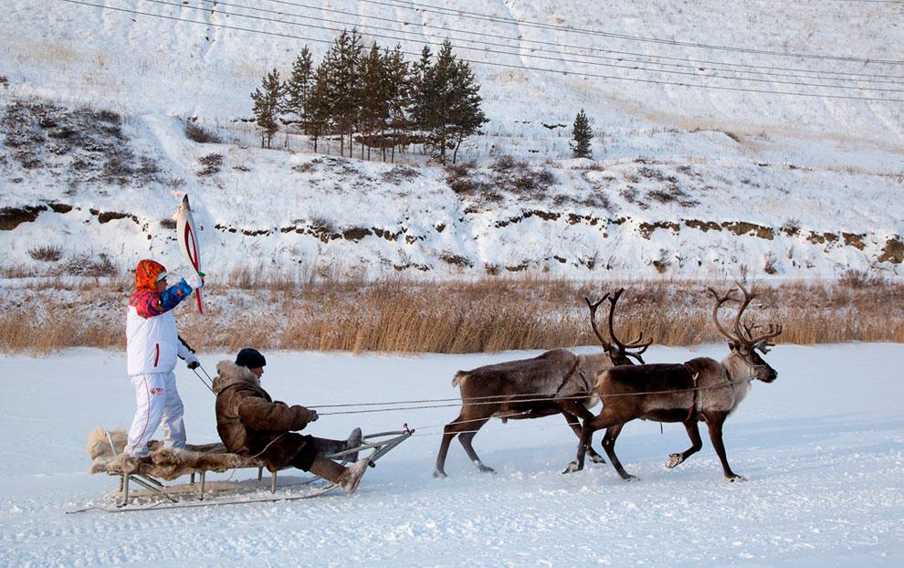 Эстафета возле Якутска на оленьих упряжках
