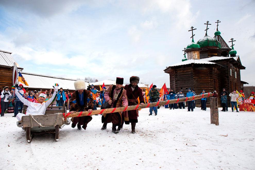 Эстафета на реке Ангара, в 47 км к югу от Иркутска