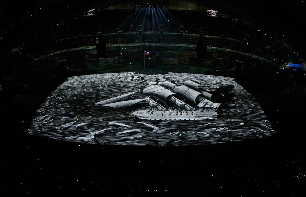 Обратите внимание на специальный пол стадиона, на который проецировался вид нашей планеты из космоса. Это выглядело очень мощно и необычно