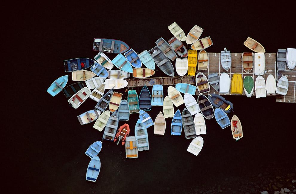 Лодки у пристани в Даксбери, штат Массачусетс, США, 1993