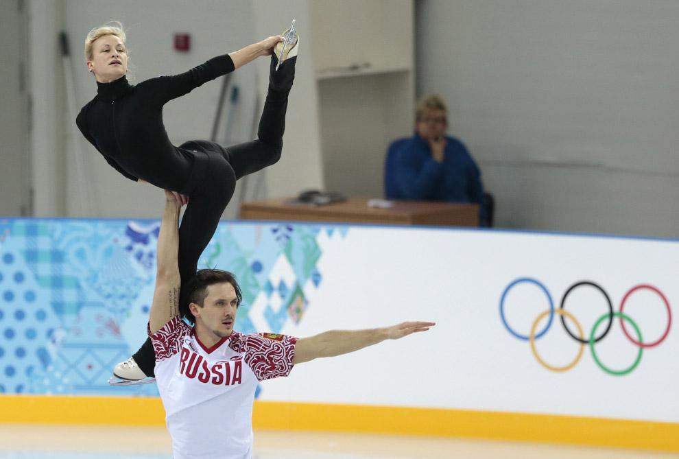 Тренировка у российских фигуристов Татьяны Волосожар и Максима Транькова