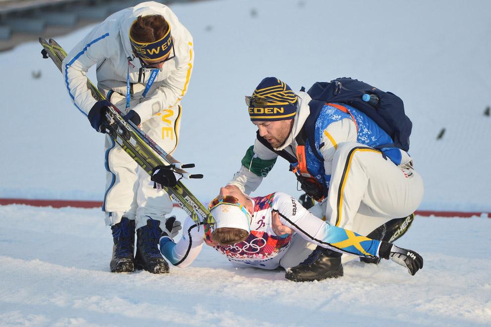 Швед Эмиль Йонссон, выигравший бронзу в спринтерской гонке на Олимпиаде в Сочи