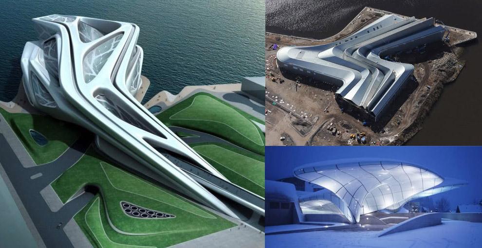 Слева — арт-центр в Абу-Даби (в процессе строительства),справа вверху — музей транспорта в Глазго, справа внизу — станция канатной дороги в Инсбруке