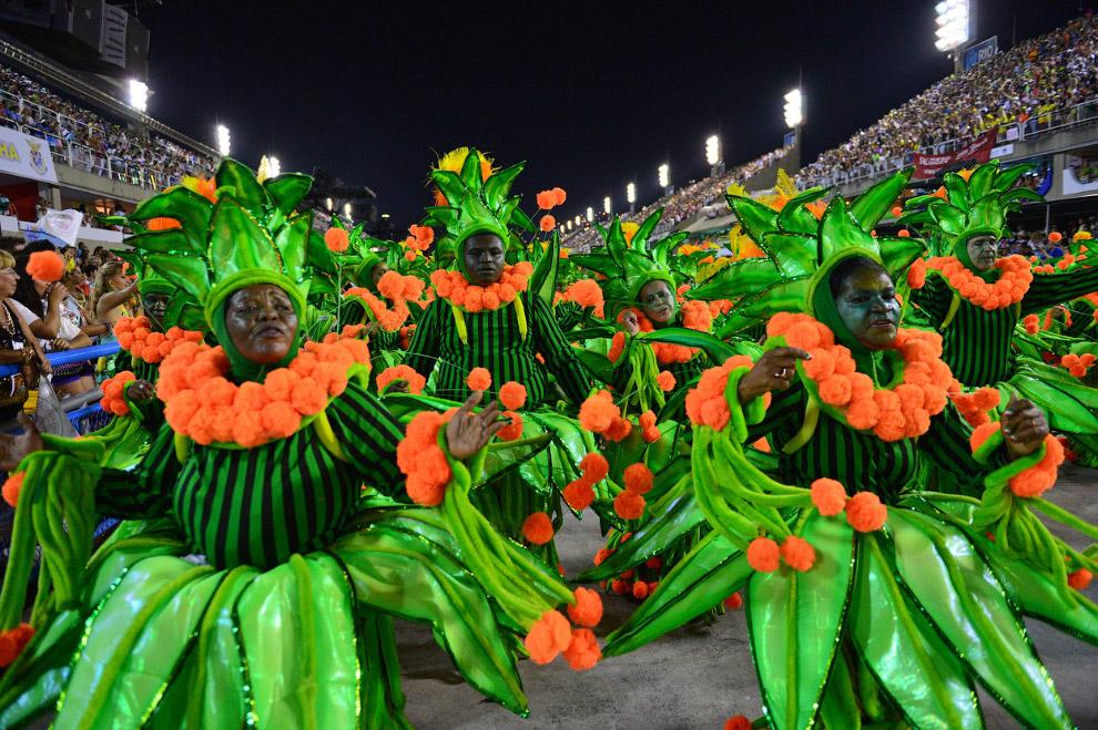 На карнавале каждая школа самбы представляет свою «сценку», заранее подготовленный сюжет, посвященный Бразилии и не только